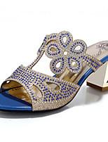 Women's Shoes Glitter Chunky Heel Heels Sandals Wedding / Party & Evening / Dress / Casual Blue / Green