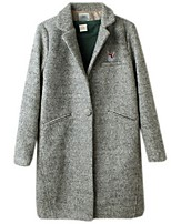 Women's Casual/Daily Plus Size Pea Coats,Solid Long Sleeve Winter Beige / Gray / Green Polyester