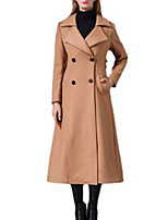 Women's Solid Brown Coat,Simple Long Sleeve Nylon