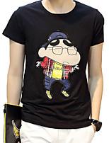 2016 summer new cartoon printed crayon Mens slim fit tee T-shirt tide T-shirt