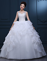 A-line Wedding Dress-Floor-length V-neck Lace / Tulle