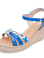 Women's Shoes Leatherette Summer Wedges / Heels Outdoor / Casual Wedge Heel Buckle Blue / White