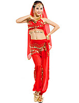Belly Dance Outfits Women's Performance Chiffon Sequins 4 Pieces Fuchsia / Light Blue / Purple / Red / Yellow Belly Dance Sleeveless