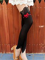Women Thin Patchwork Cute Bow Print Pantyhose,Core Spun Yarn / Nylon