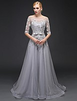 Formal Evening Dress-Silver Bateau Sweep/Brush Train Satin / Tulle