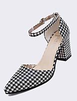 Chaussures Femme-Bureau & Travail / Habillé / Soirée & Evénement-Noir / Rose / Gris / Noir et blanc-Gros Talon-Talons-Talons-Similicuir