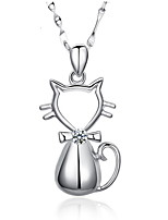 Cute Hollow 925 Sterling Silver Bowknot Cat Pendant Rhinestone Necklace Friends Gift Charm Korean Fashion Fine Jewelry