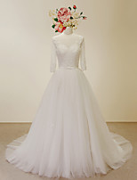 A-line Wedding Dress-Ivory Court Train Scoop Lace / Satin / Tulle