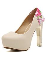 Chaussures Femme-Extérieure-Marron / Blanc-Gros Talon-Confort-Talons-Similicuir
