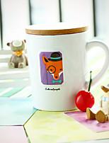bande dessinée tasse en céramique 1pc 8.5 * 7.4 * 10.3cm dons créatifs simples de lait pour le petit déjeuner, marque tasse avec couvercle