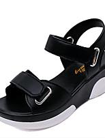 Calçados Femininos-Sandálias-Creepers-Plataforma-Preto / Branco / Bege-Courino-Ar-Livre / Casual