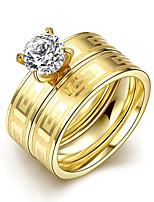 2016 Luxury Gold Zircon Great Wall Titanium Steel Romantic Wedding Couple Ring