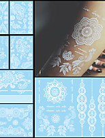 7PCS Trendy Fake Flower Waterproof Tatoo Temporary White For Women Body Art Tattoo Henna Pendant Choker