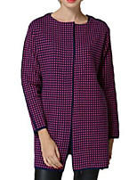 Women's Houndstooth Black / Purple Coat,Simple Long Sleeve Nylon