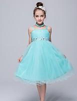 A-line Tea-length Flower Girl Dress-Satin / Tulle / Polyester Sleeveless