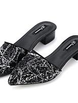 Chaussures Femme-Extérieure / Décontracté-Noir / Argent-Talon Bas-Confort-Chaussons-Laine synthétique / Similicuir