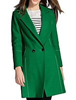 Women's Solid Green Pea Coats,Plus Size Long Sleeve Polyester