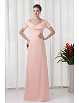 Formal Evening Dress-Pearl Pink Sheath/Column V-neck Floor-length Chiffon