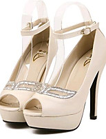 Women's Shoes Leatherette Stiletto Heel Heels / Peep Toe Heels Party & Evening White / Almond