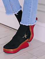 Women's Shoes Microfibre Wedge Heel Wedges / Creepers / Square Toe / Open Toe Sandals Dress Black