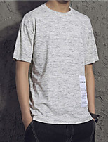 Men's Short Sleeve T-Shirt,Polyester Casual Solid