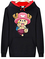 Inspirado por One Piece Monkey D. Luffy animado Disfraces Cosplay sudaderas Cosplay Estampado Negro Manga Larga Top