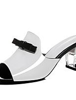 Women's Shoes Leatherette Chunky Heel Peep Toe Sandals Office & Career / Party & Evening / Dress Black / White