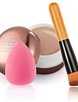 Contour Face Cream Makeup Concealer+ Wooden Handle Brush + Sponge Puff Makeup Base Foundation Concealers for Makeup