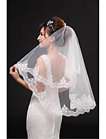 Wedding Veil One-tier Fingertip Veils Lace Applique Edge Tulle Beige