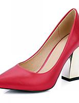 펌프스/힐-웨딩 / 사무실 & 커리어 / 파티/이브닝-여성의 신발-힐-레더렛-청키 굽-블랙 / 레드 / 화이트