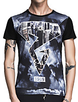 Summer Men's Fashion Personality Printing Round Neck Short Sleeve T-Shirt Slim Tops