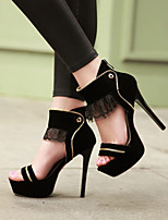 Women's Shoes Heel Heels / Peep Toe / Platform Sandals / Heels Party & Evening / Dress / Casual Black / Red/810-1