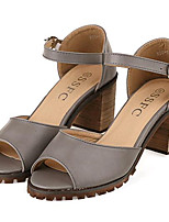 Women's Shoes Leatherette Summer Heels Outdoor / Casual Chunky Heel Buckle White / Gray