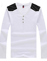 Men's Print Casual T-Shirt,Cotton / Polyester Long Sleeve-Black / White