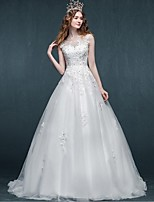 A-line Wedding Dress-Sweep/Brush Train Scoop Tulle