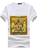 Men's Print / Patchwork Casual / Sport / Plus Sizes T-Shirt,Cotton Short Sleeve-Black / White
