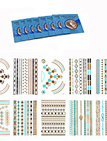 10Pcs  Fashional Temporary Mandala Flower Tattoo Metallic Gold Silver Flash Body Tattoo Sticker +8Pcs Cleansing Wipes