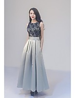 Formal Evening Dress-Silver Ball Gown Jewel Ankle-length Lace / Satin