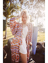 Women's Casual/Daily Simple Jackets,Print Round Neck ¾ Sleeve Orange Polyester