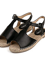 Women's Shoes Leatherette Summer Comfort Outdoor / Casual Flat Heel Buckle Black / Almond