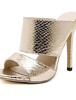 Women's Shoes Cashmere Stiletto Heel Heels / Open Toe Sandals Outdoor / Casual Silver / Gold