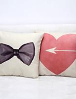 Set of 2 Couple Linen Pillowcase Sofa Home Decor Cushion Cover (18*18inch)