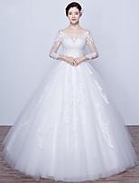 웨딩 드레스-볼 드레스 바닥 길이 스쿱 새틴 / 튤