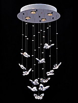 Clear Crystal Butterfly Shape Lighting Pendant Modern Lamp 4 Lights
