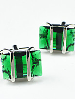 Toonykelly® Fashion Copper Silver Plated Green Glass Button Cufflinks (1 Pair)