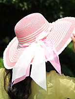 Women Straw Ribbon Decorative Border Floppy Hat,Cute / Party / Casual Spring / Summer / Fall
