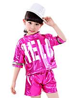 Girl's Polyester Summer Paillette Letter Pattern Nation Dance Uniforms