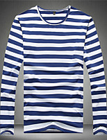 Men's Striped Casual T-Shirt,Cotton Long Sleeve-Black / Blue / Green / Red
