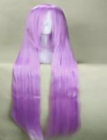 Anime perruque cosplay oblique frange 100cm de long jaune violet perruque droite rouge