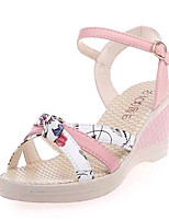 Women's Shoes Leatherette Summer Wedges / Heels Outdoor / Casual Wedge Heel Buckle Blue / Pink / White